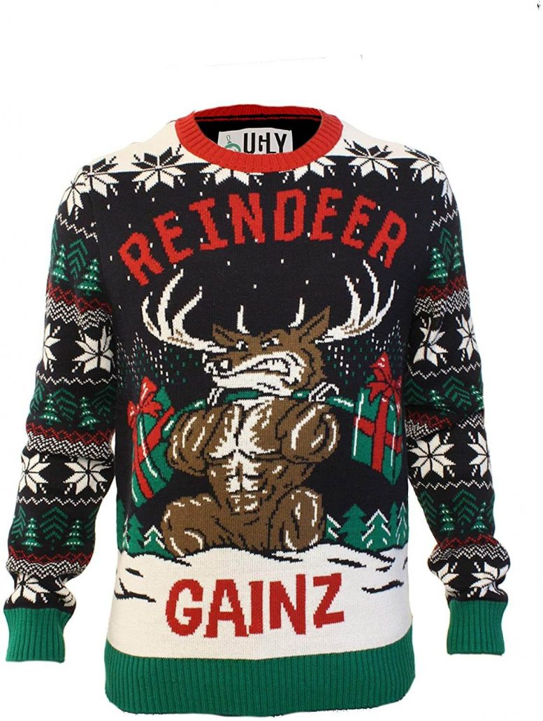 Ugly Christmas sweater for adults funny reindeer.