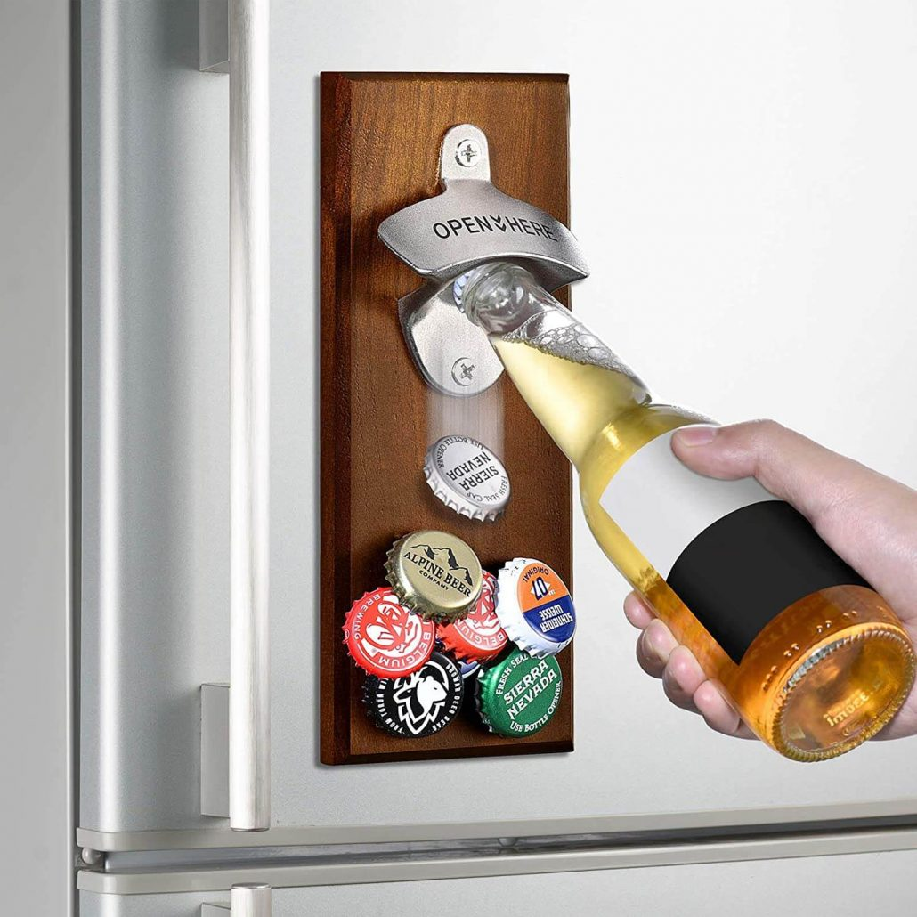 Wall mounted magnetic bottle opener makes a great Christmas gift for Dad.