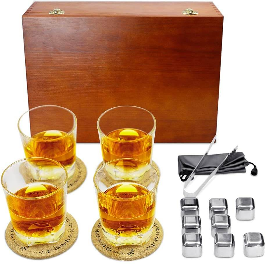 Whiskey glass set with box makes a unique Christmas gift for Dad.