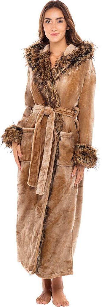 Women's luxury plush fleece robe with hood gift for Mom.