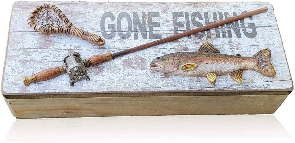 Wood gone fishing storage box makes a unique Christmas gift for Dad.