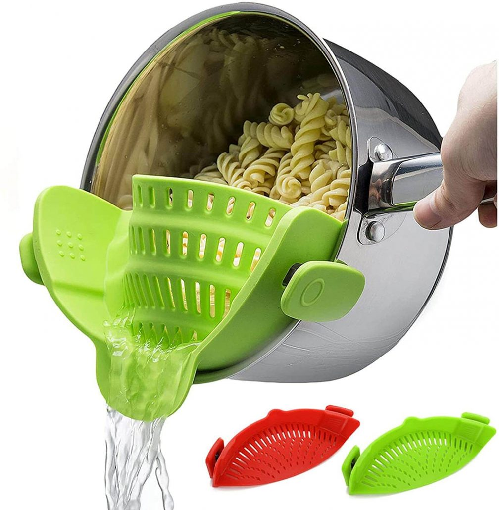 Clip-on silicone food strainer universal and versatile design.