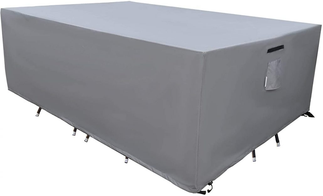 Durable cover for protecting outdoor patio dining table and chairs.
