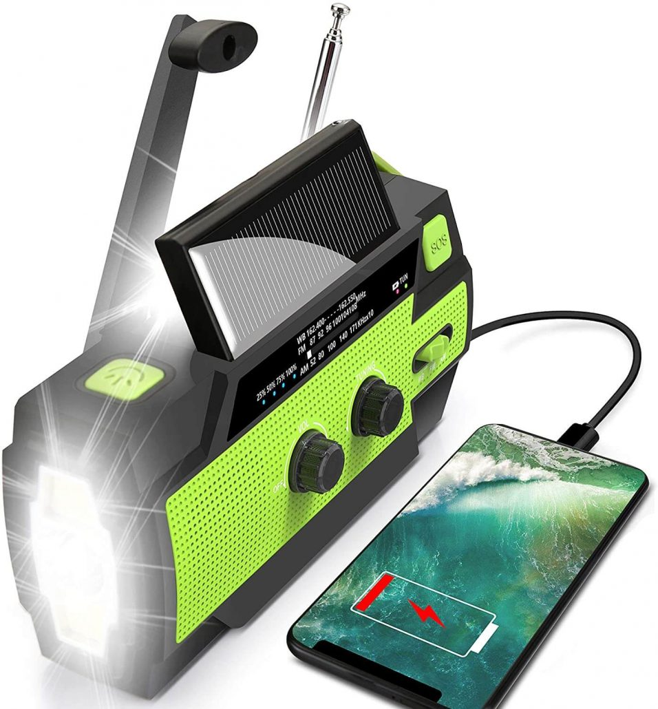 Emergency hand crank and solar radio with flashlight.