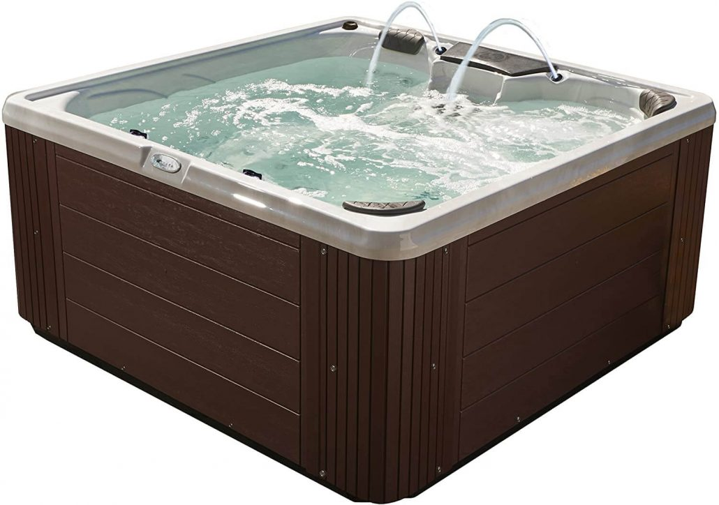 30-jet hot tub in espresso color by Essential Hot Tubs.