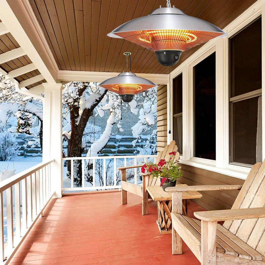 Outdoor hanging electric patio heater.