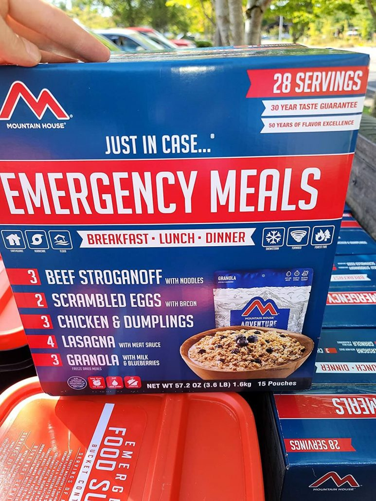 Emergency food storage meal kits by HM Mountain House.