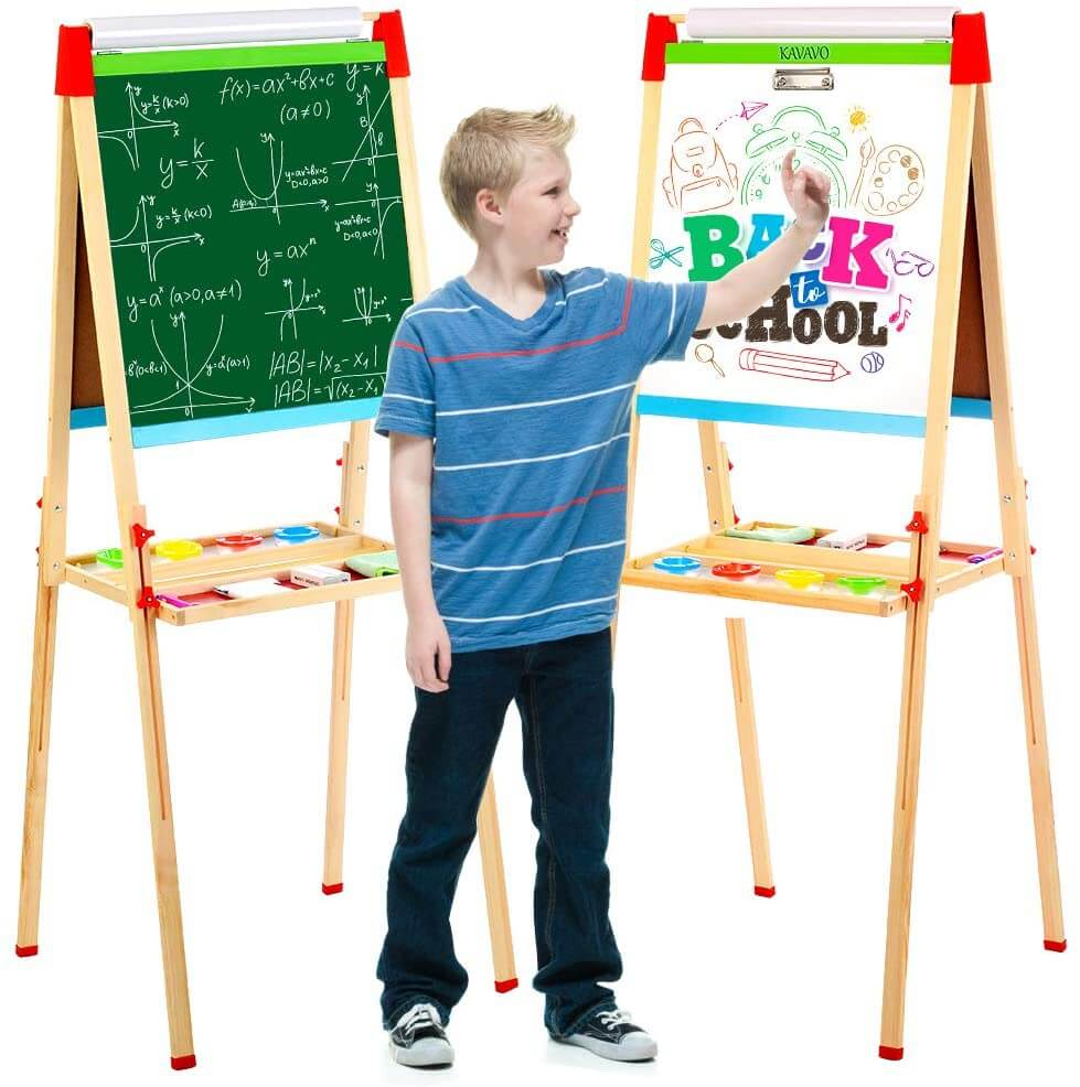 Kids double-sided chalkboard and easel for learning at home.