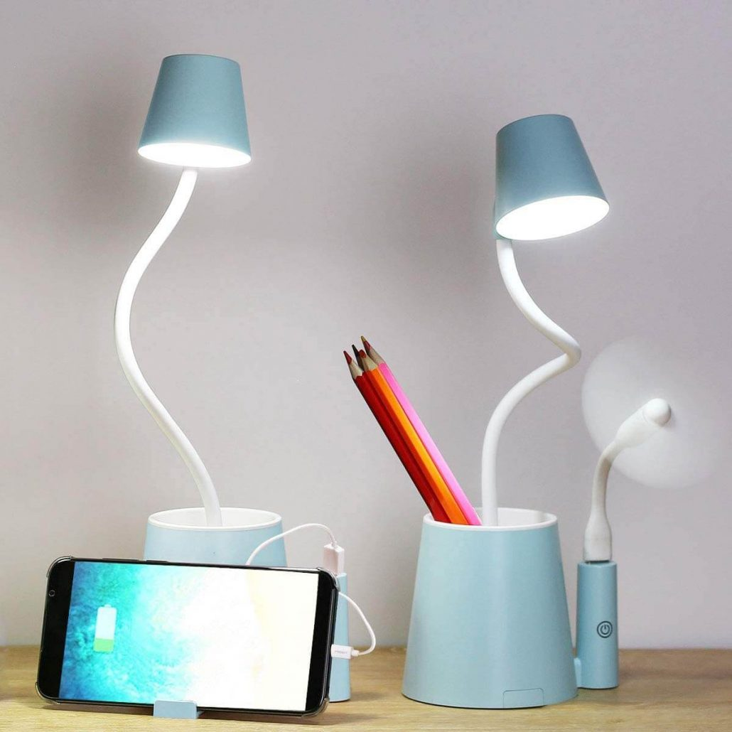 Desk lamp for kids with USB charger.