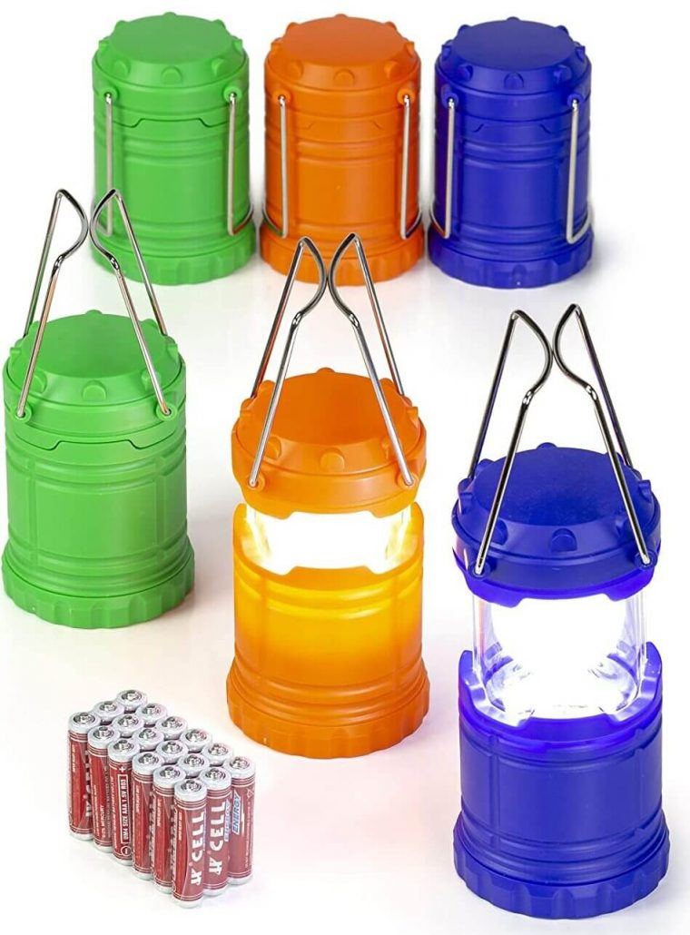 Mini collapsible LED lanterns for emergencies.