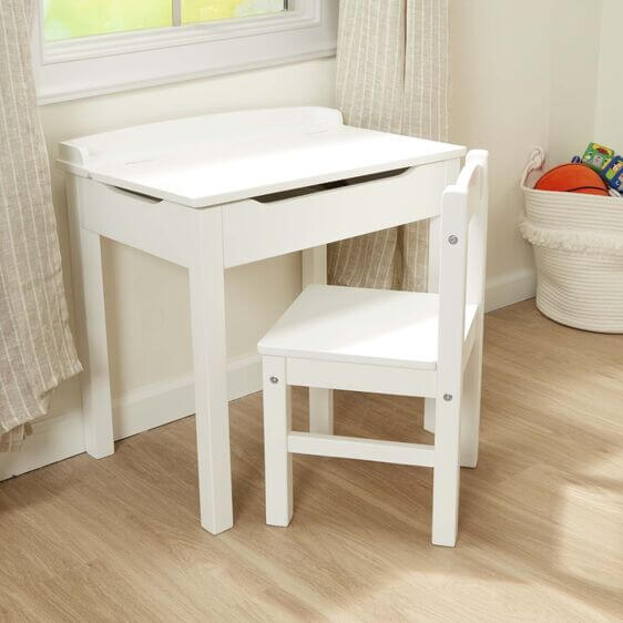 Wooden desk and chair by Melissa and Doug.