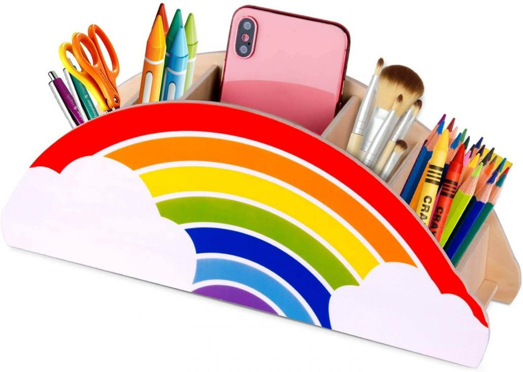 Fun rainbow pen holder for kid's desk.