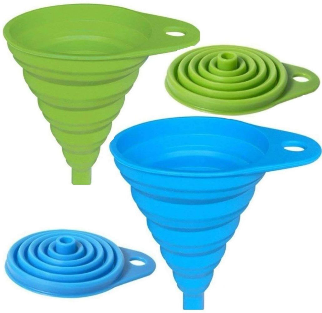 Collapsible silicone funnel for transferring liquids by Axe Sickle.
