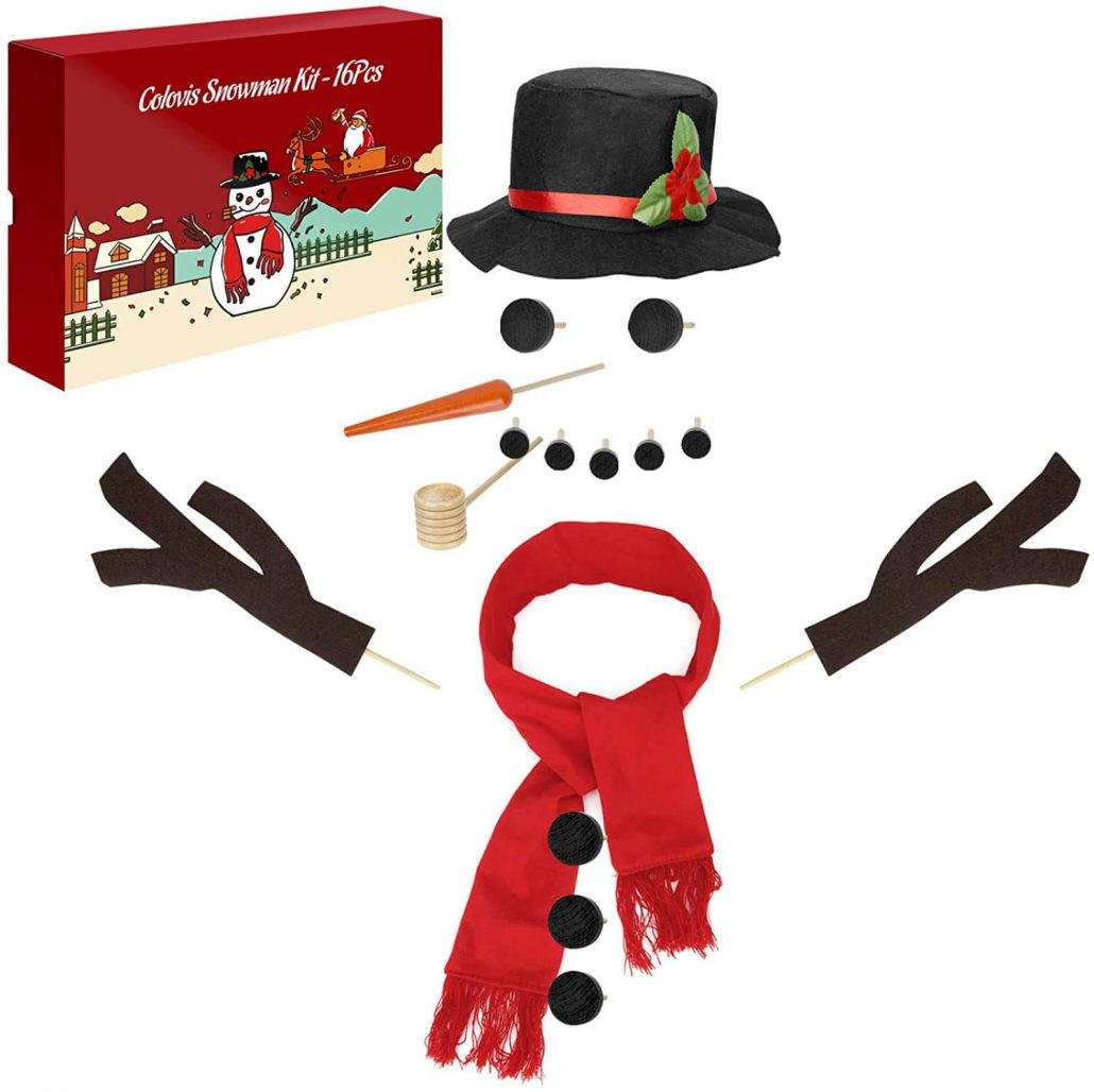 Snowman decorating kit for kids outdoor winter activity.
