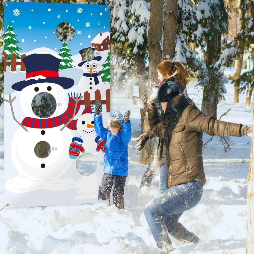 Fun Snowman toss game for kids winter activity.