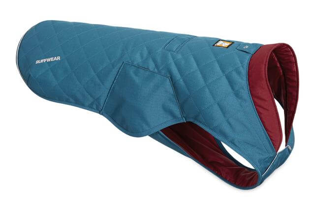 Insulated winter quilted jacket for dogs by Ruffwear.