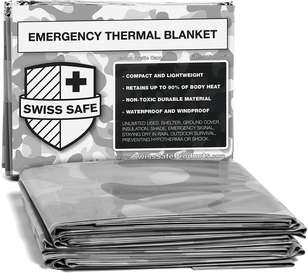 Emergency thermal blankets by Swiss Safe.