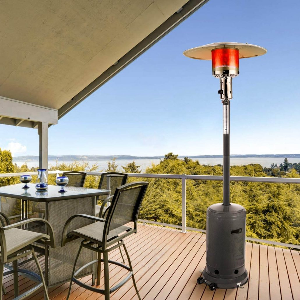 Outdoor propane patio heater with wheels by Tacklife.
