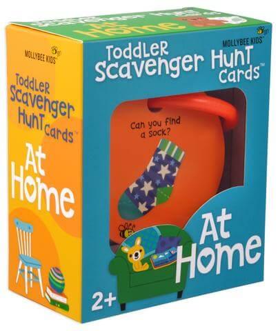 Fun indoor toddler scavenger hunt for winter activity.