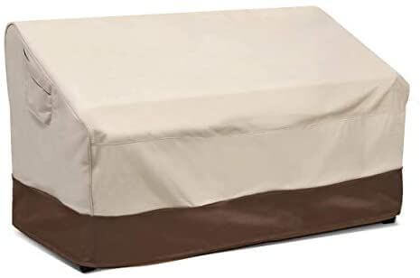 Waterproof cover for outdoor patio loveseat or bench.