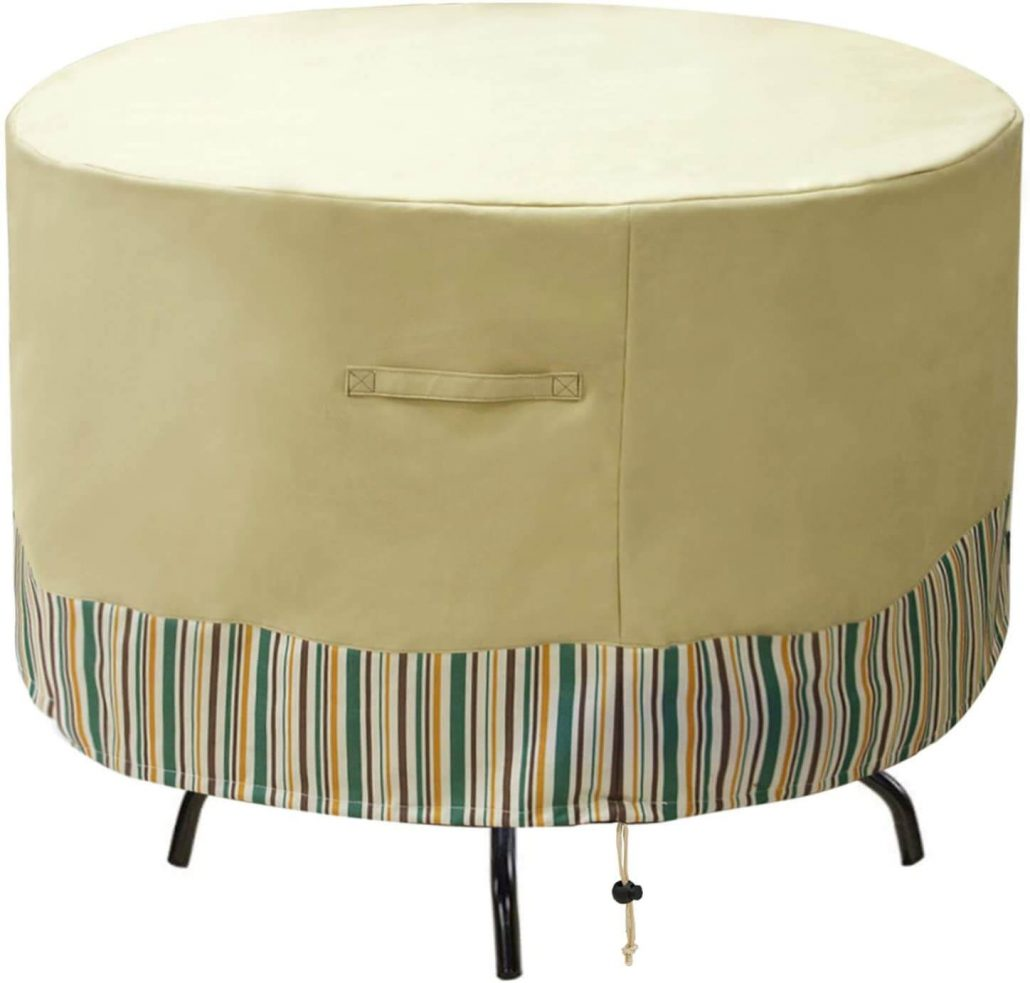 Waterproof outdoor patio furniture cover for round patio furniture.