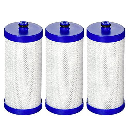 AquaCrest refrigerator water filters with coconut shell carbon blocks, six pack.