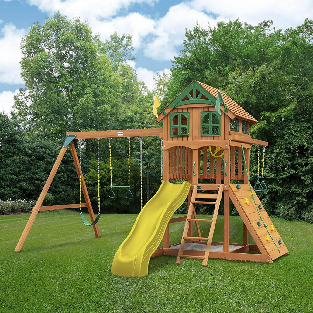 Wood outdoor playset for kids by Gorilla Playsets.