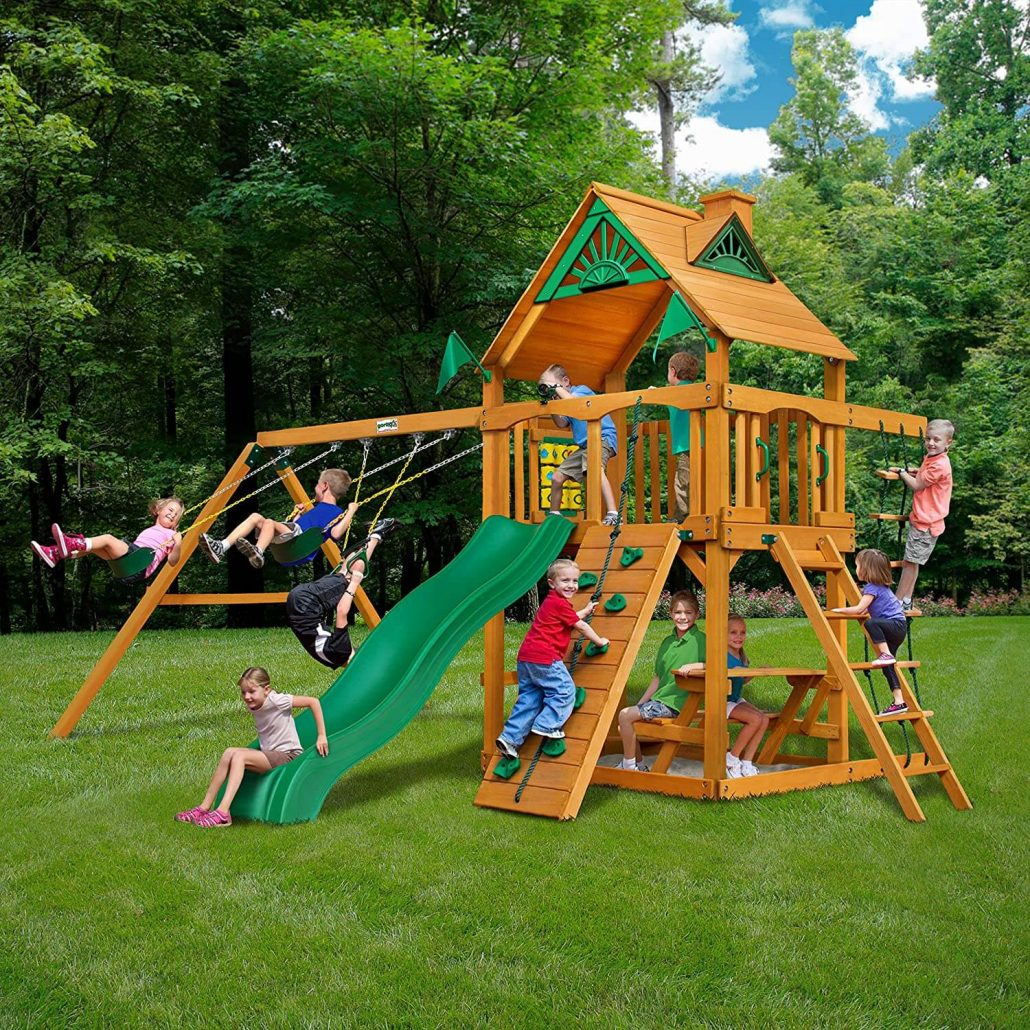 Wood outdoor playset for kids with deck by GorillaSets.