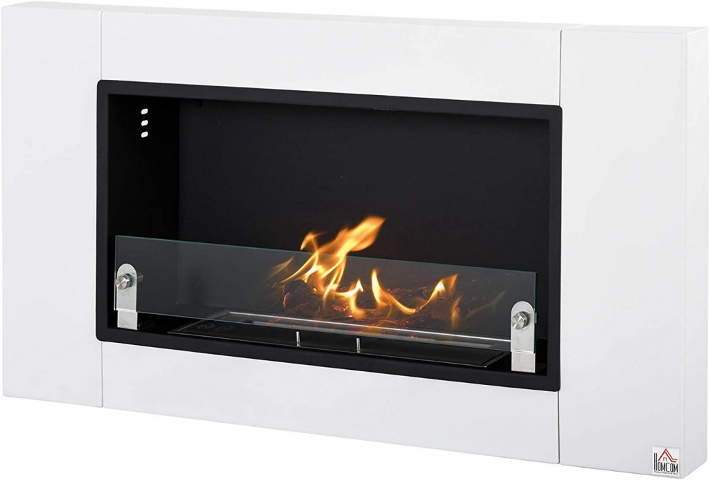 Wall-mounted stainless steel ethanol fireplace by Homcom.