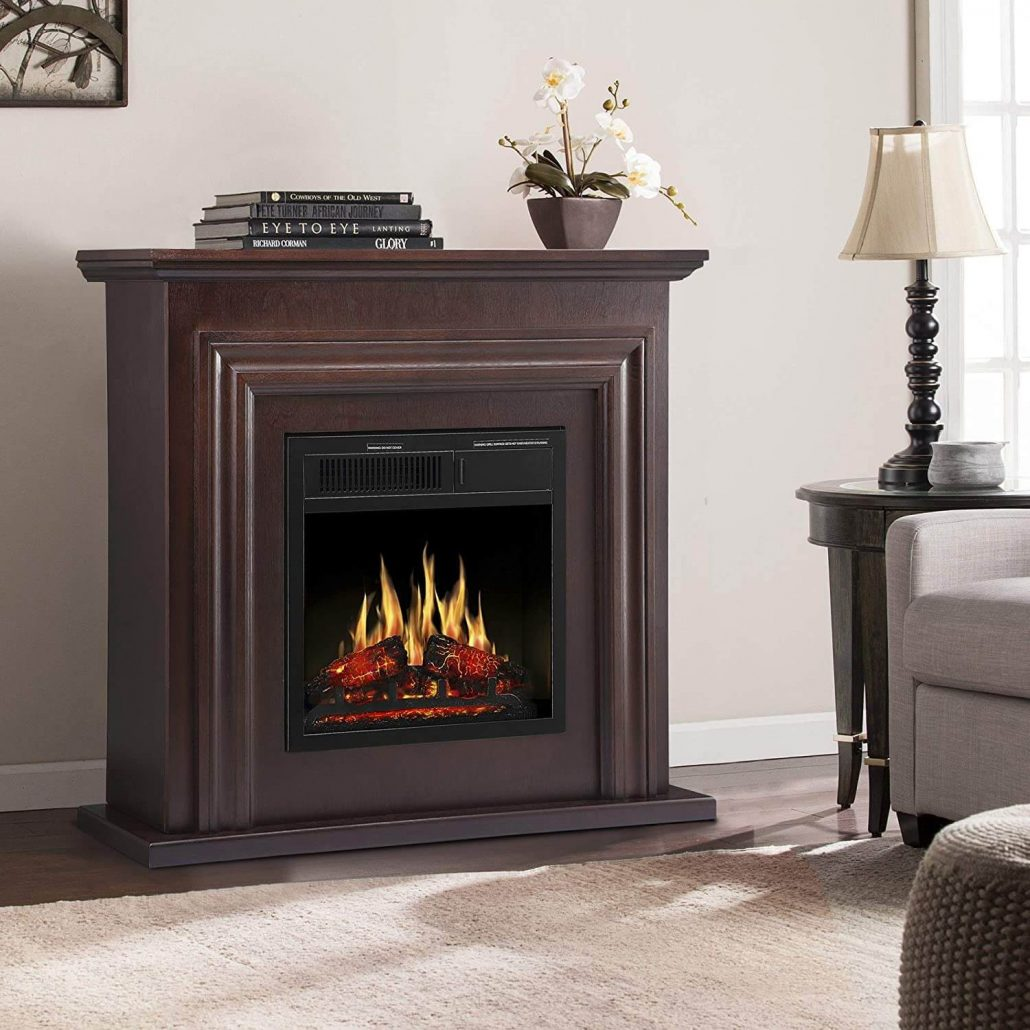 Electric fireplace with mantel by Jamfly.