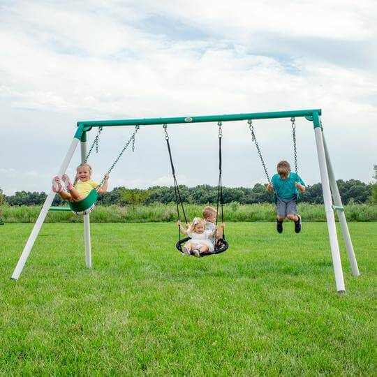 Basic steel swing set for kids with spider swing.