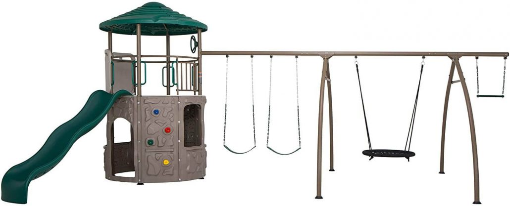 Lifetime Adventure Tower with spider swing outdoor playset for kids.