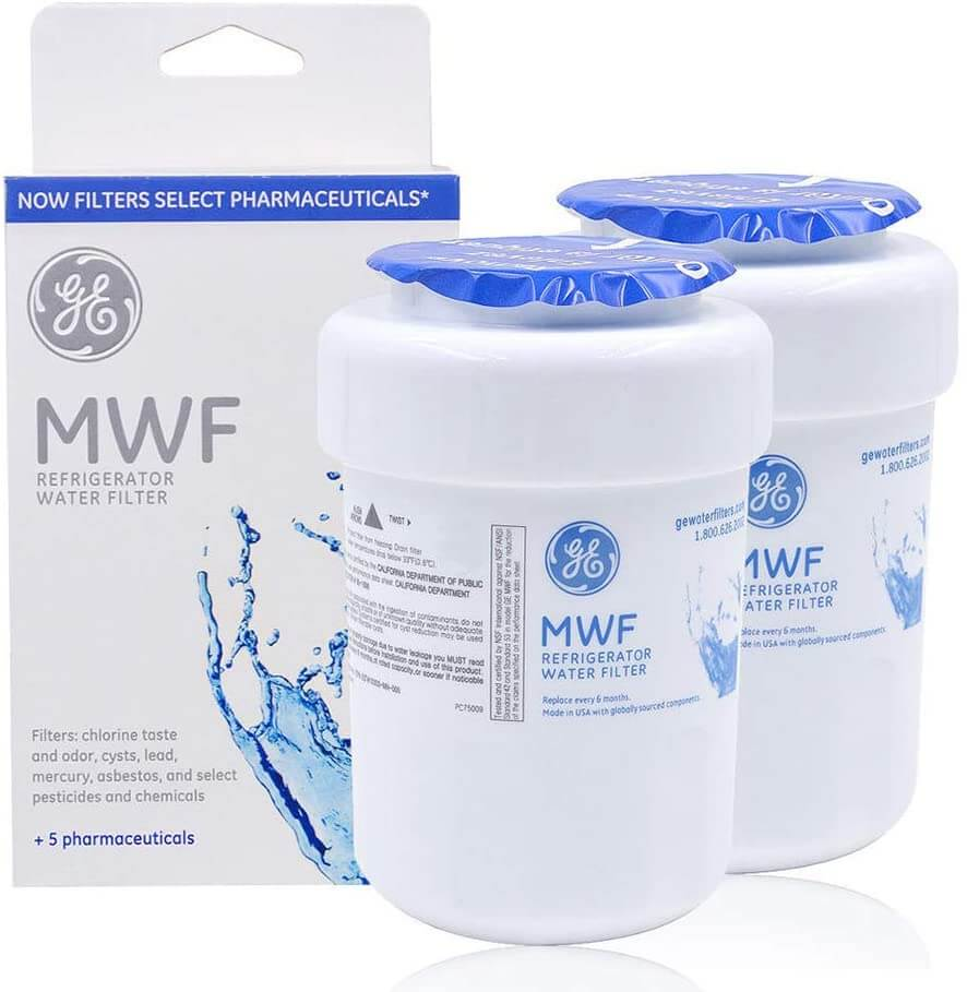 GE MWF refrigerator water filter, pack of two.
