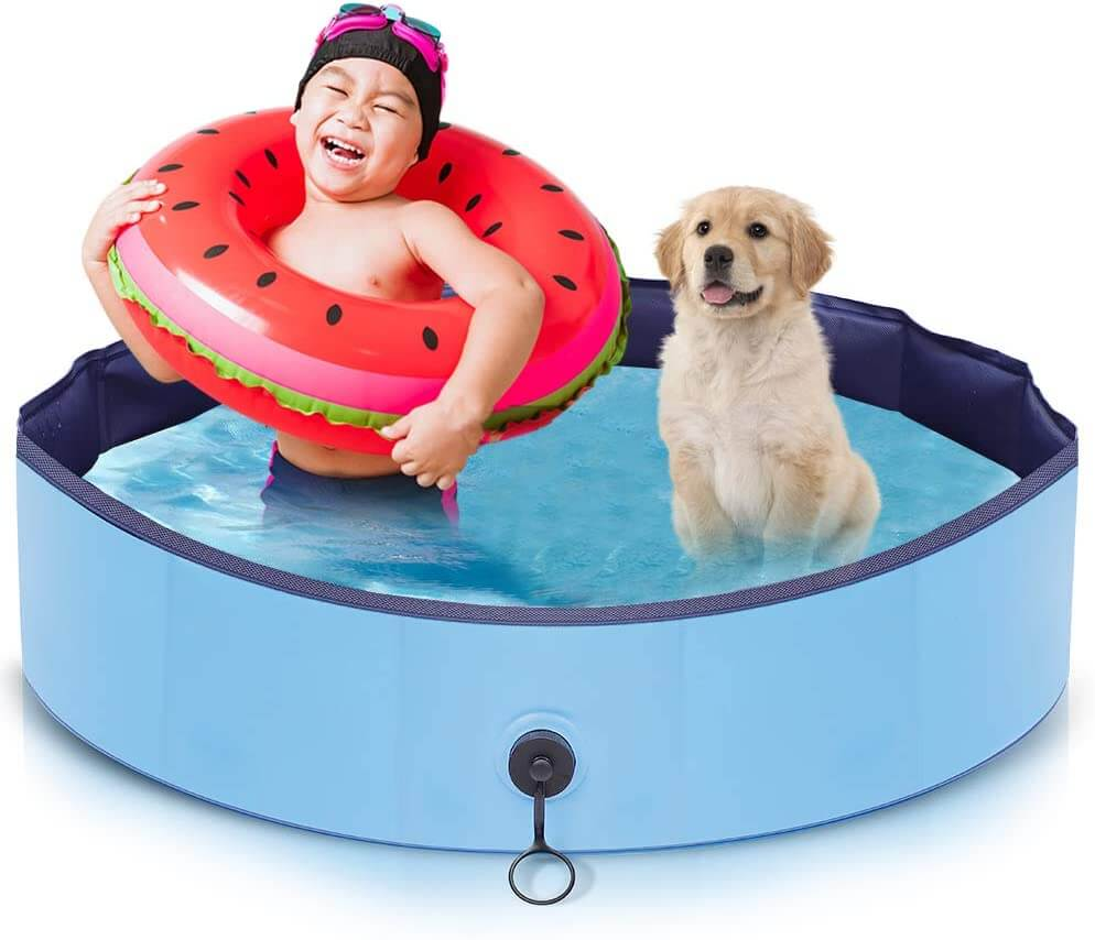 Small outdoor dog pool for small dogs that can also be used as a washing tub.