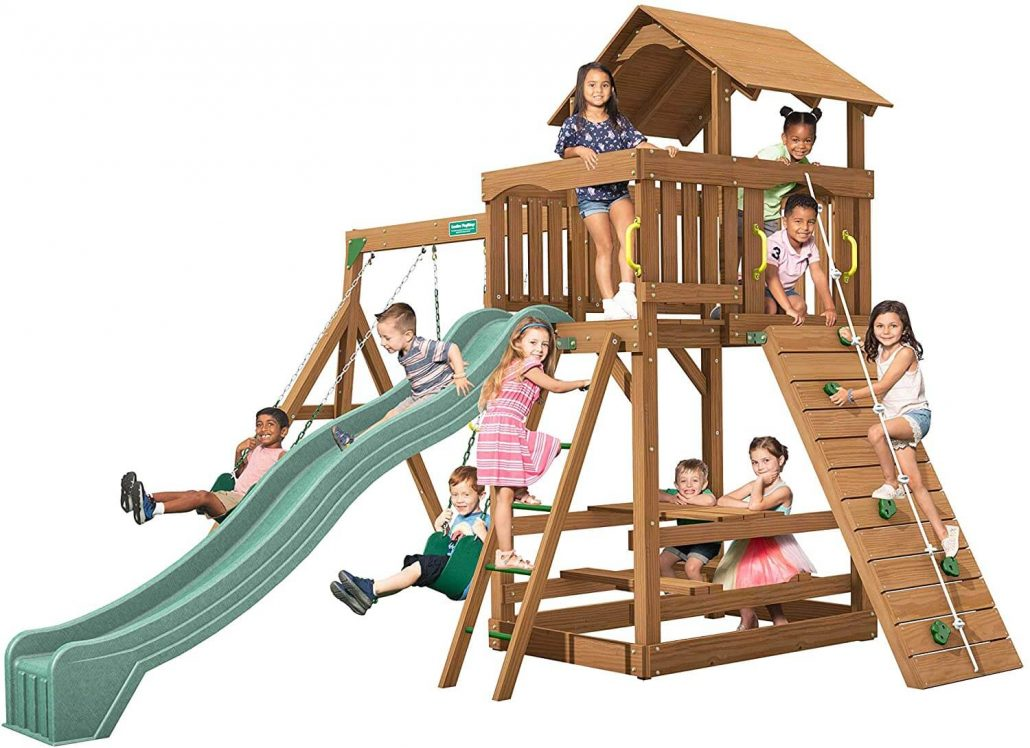 Made in USA backyard playset with swings by Playtimes.
