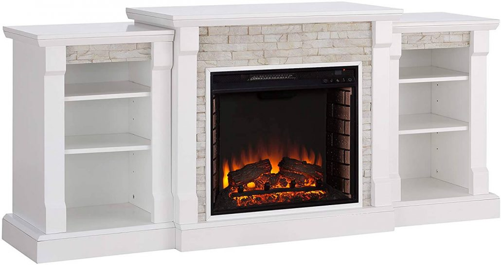 Simulated stone fake electric fireplace by Southern Enterprises.