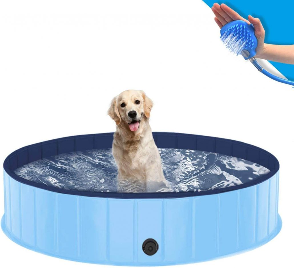 Outdoor dog pool with shower head by Sportout.