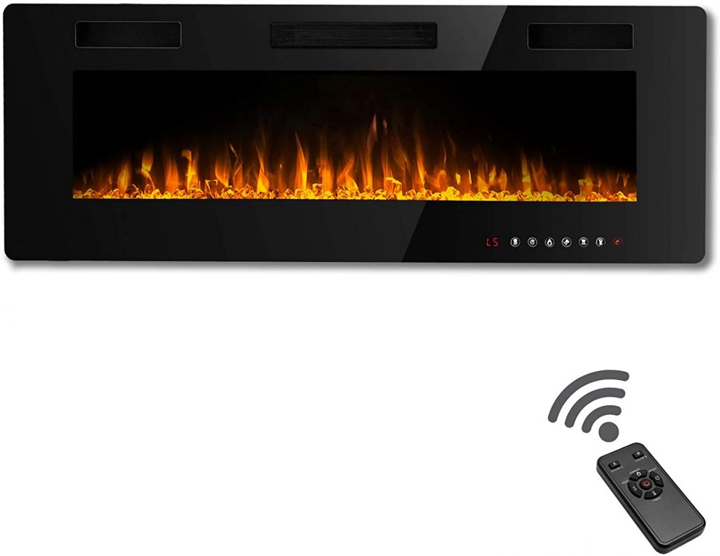 60-inch electric fireplace with remote by Wayleaf.