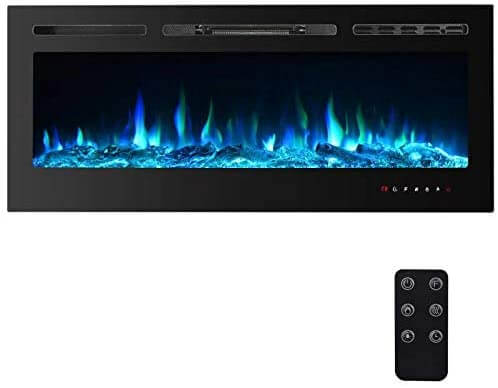 Wall-mounted and recessed electric fireplace with changing colors.
