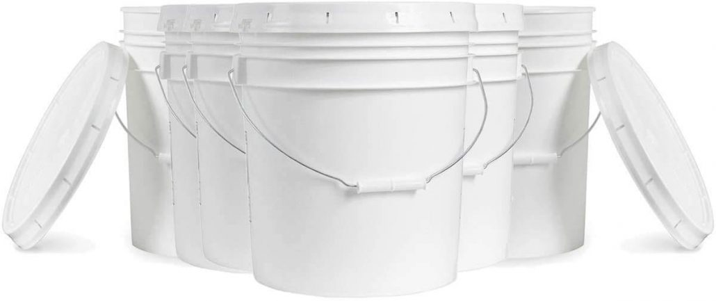 Airtight 5 gallon buckets with lid for food storage.