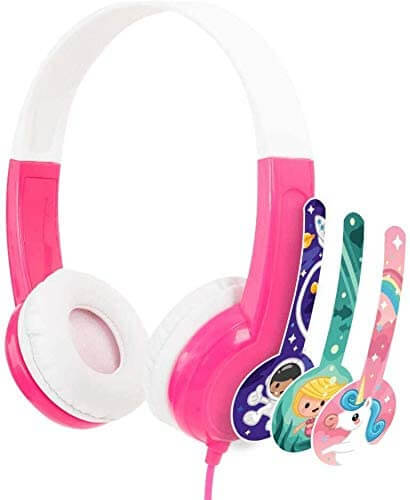 Volume limiting headphones with mic for kids by BuddyPhones.