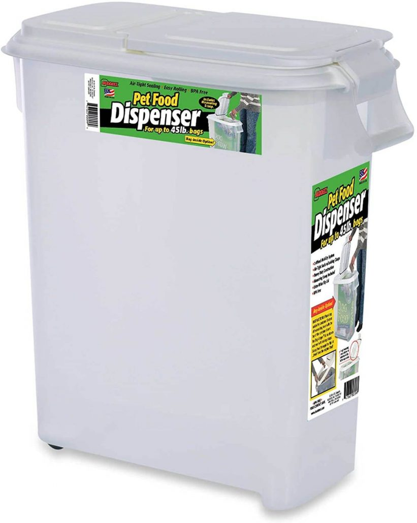 50 quart roll-away dog food dispenser by Budeez.