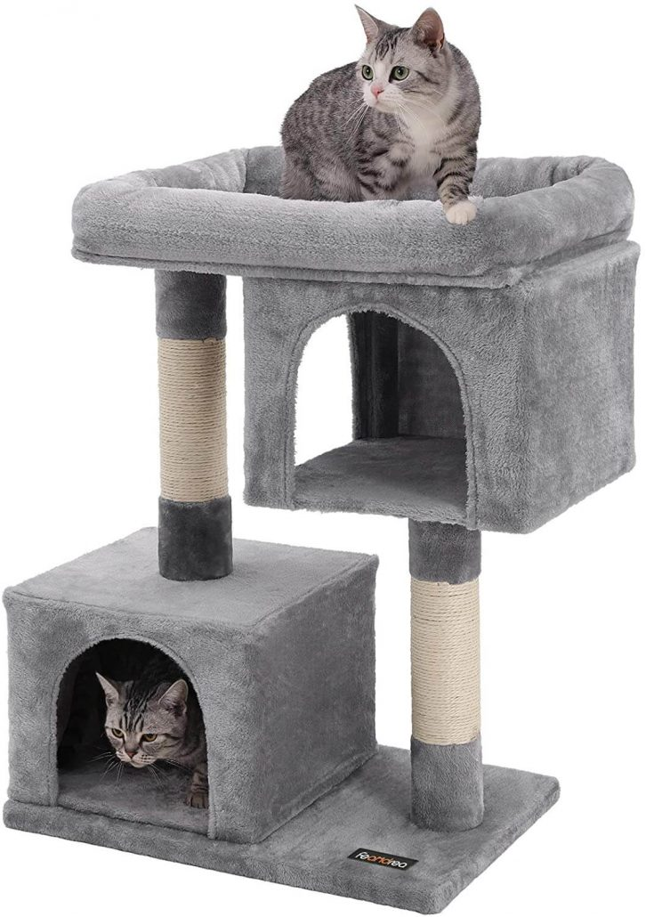 Small cat tree with kitty condos by Feandrea.