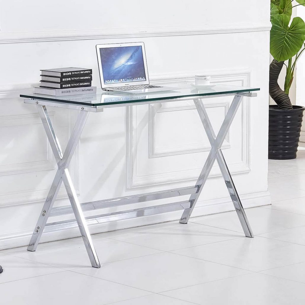 Glass top small writing or computer desk by Fenghua.