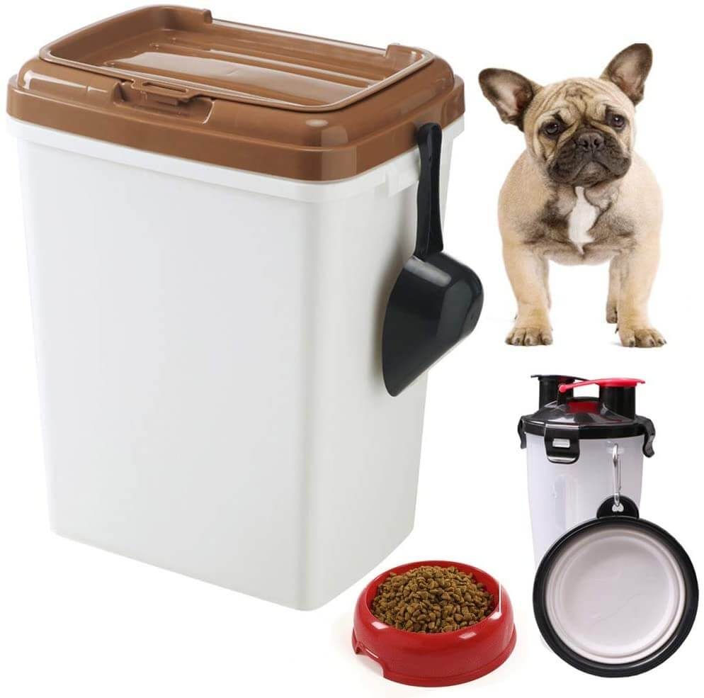 Dog food storage bin with feeding bowl by Minedecor.