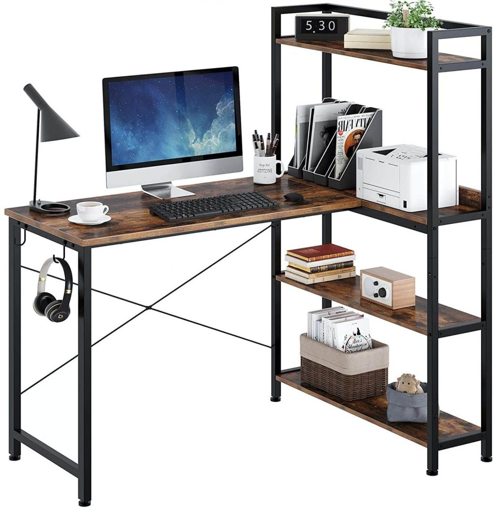 L-shaped computer desk with shelves for home office by Rolenstar.