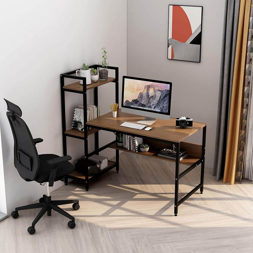 Computer desk for small home office with shelves by Two Maples.