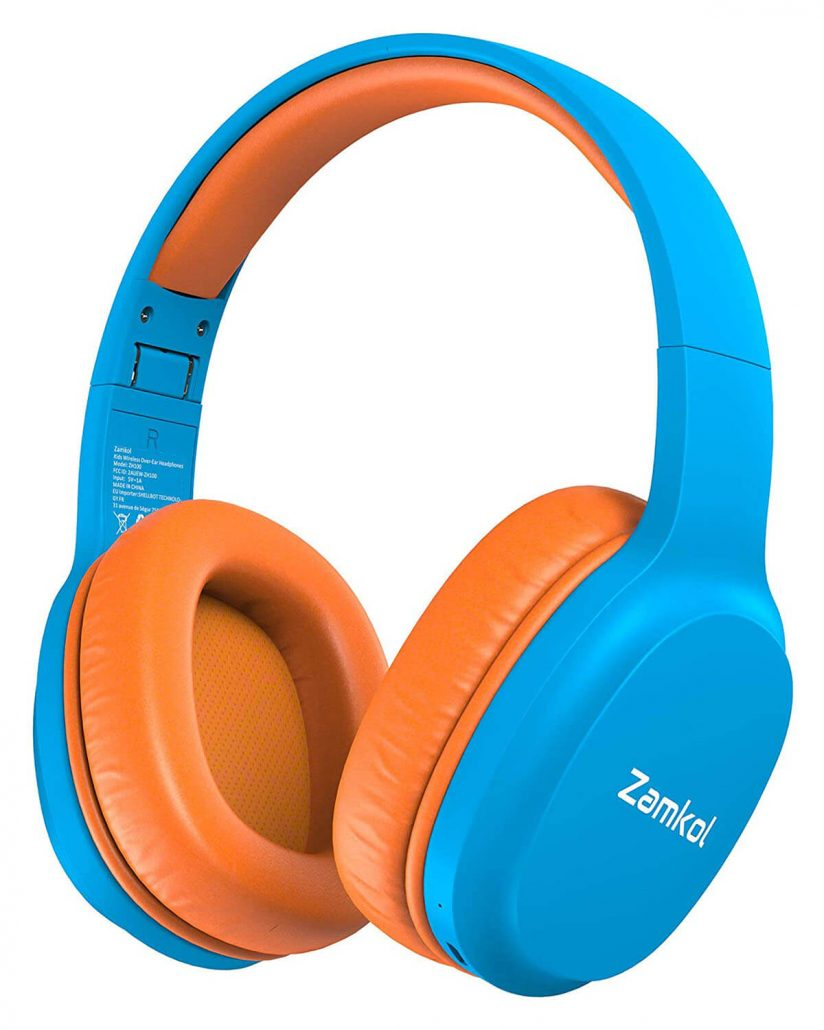 Colorful wireless headphones for kids by Zamkol.