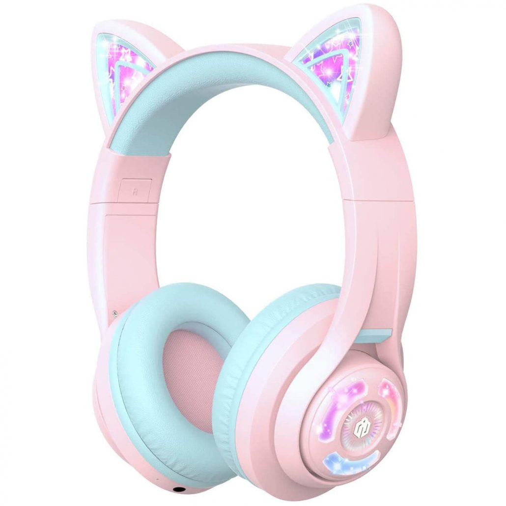 Cat ear LED light up headphones for kids by iClever.