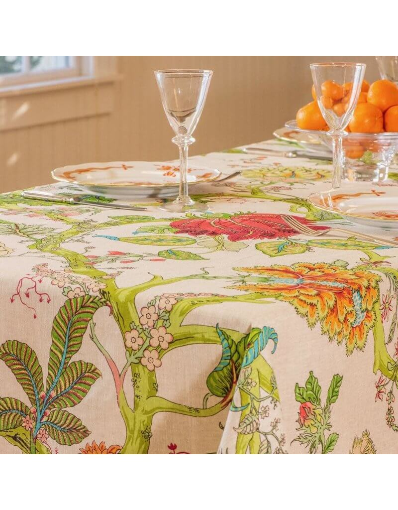 French-style boho hippie spring nature tablecloth by Amelie Michel.
